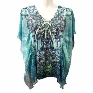 Style & Co Paisley Asymmetrical Blouse. Size 2X